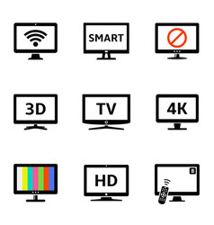 modern tv icons set vector image