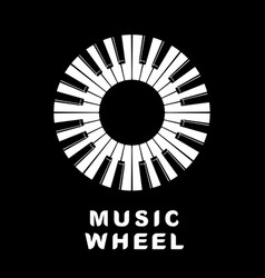 music logo piano as wheel eye icon simple style vector image