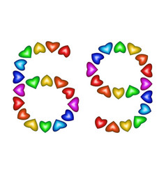 number 69 sixty nine of colorful hearts on white vector image