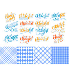 Oktoberfest stickers hand lettering brush pen vector