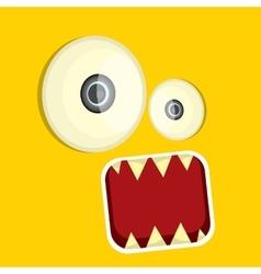 orange funny monster face vector image