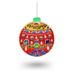 original handmade red christmas ball decoration vector image
