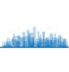 Outline city skyscrapers and buildings in blue vector