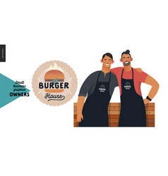 owners - small business graphics - burger house vector image