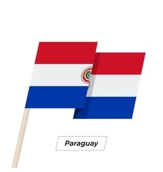 Paraguay Ribbon Waving Flag Isolated on White vector