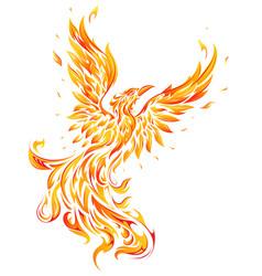 Phoenix as fire flame bird shape vector