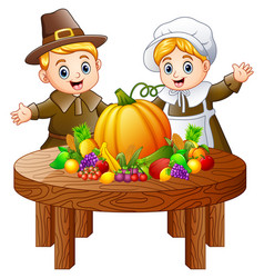 Pilgrim couple with fruits and vegetables on round vector