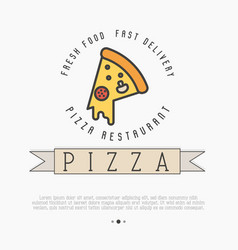 pizza logo with thin line icon for menu vector image