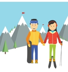 portrait of happy couple skiers vector image