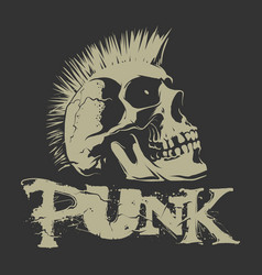 punk skull with mohawk vector image