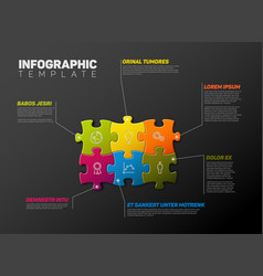 puzzle infographic report template vector image