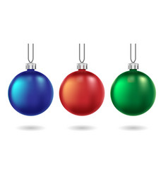red blue and green christmas balls isolated on vector image