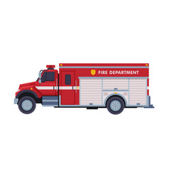 red engine fire truck emergency service vector image