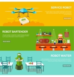 Robots design concept set with service robot vector image