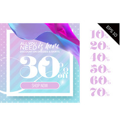 sale template with flying silk vector image