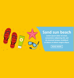 sand sun beach banner horizontal concept vector image