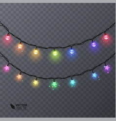 set of colorful garlands with shape of stars vector image