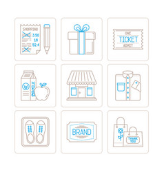 set of shopping icons and concepts in mono thin vector image