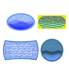 set of swimming pool icons vector image