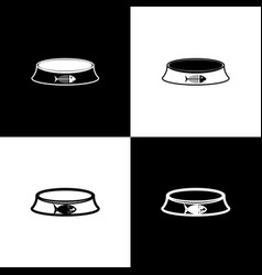 set pet food bowl for cat or dog icons isolated on vector image