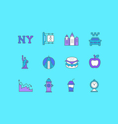set simple line icons new york vector image
