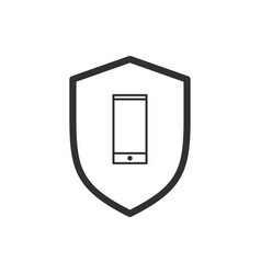 smart phone and shield with linear icon isolated vector image