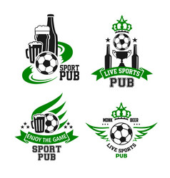 Soccer ball and beer icon for sport bar design vector