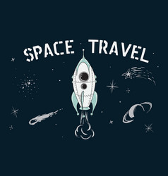 space travel of rocket vector image