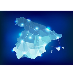 Spain country map polygonal with spot lights vector