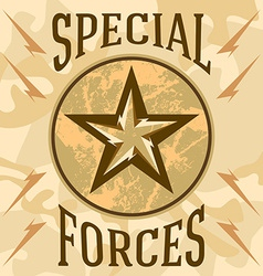 Special forces military patches with desert vector image