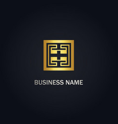 Square maze geometry gold logo vector