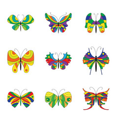 Summer collection of colorful butterflies vector