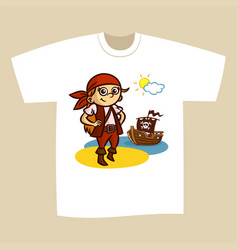 T-shirt print design pirate vector