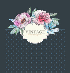 vintage invitation card with watercolor elements vector image