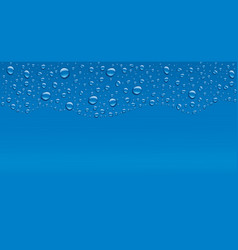 Water drops on blue background with place for text vector