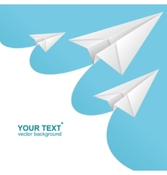 White paper airplane card and text box vector