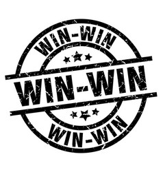 Win-win round grunge black stamp vector