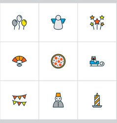 Year icons colored line set with fan celebration vector