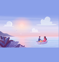 young couple floating at wooden boat with romantic vector image