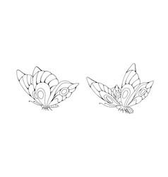 zentangle stylized cartoon two butterflies vector image