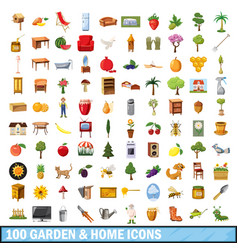 100 garden and home icons set cartoon style vector image