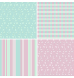 4 pastel seamless patterns vector image