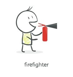 Cartoon man holding a fire extinguisher vector image vector image