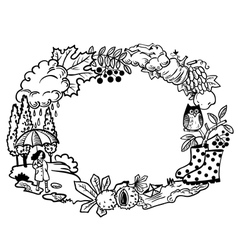 Fall season nature objects round border frame vector image vector image