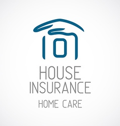 Insurance logo template Human hand covering house vector image