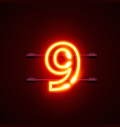 neon city font sign number 9 signboard nine vector image vector image