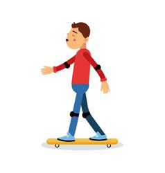 young boy skateboarding cartoon character kids vector image vector image