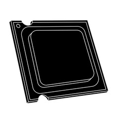 central processing unit icon in black style vector image