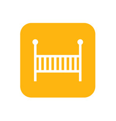 cot flat color icon baby items for newborns vector image