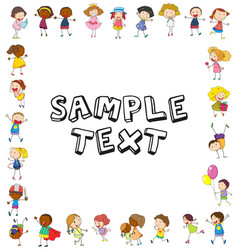 frame template with happy kids vector image